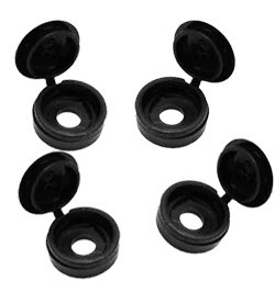 No. 10 - 12 Large Hinged Screw Cover Caps Black (4.8 - 5.5 mm Screw)