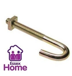 M6 x 160 Hook Bolts BZP Zinc & Yellow - J bolt