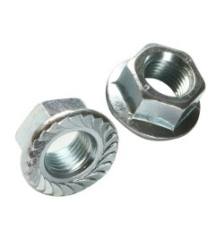 M12 SERRATED FLANGED NUTS BZP ZINC