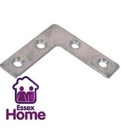 """4"""" Zinc Plated Flat Corner Plate - Steel Brace 100mm"""